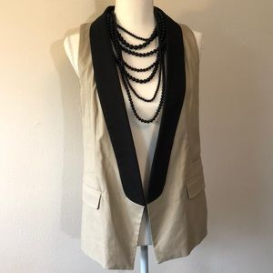 Kenneth Cole Cream & Black Vest Size 8
